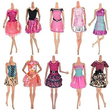 c657b7d9973 Amazon.es  Upper 10pcs Vestidos para Muñeca Barbie Vestidos Fiesta Color al  Azar Vestido Fashion Falda Mini Fiesta Ropas  Juguetes y juegos