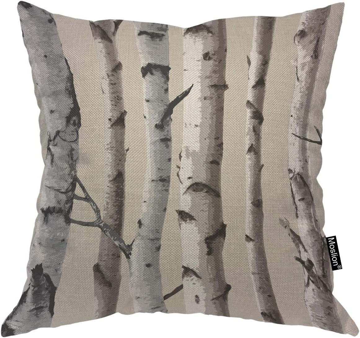 Moslion Throw Pillow Cover Birch 18x18 Inch Tree Trunk Nature Forest Square Pillow Case Cushion Cover for Home Car Decorative Cotton Linen