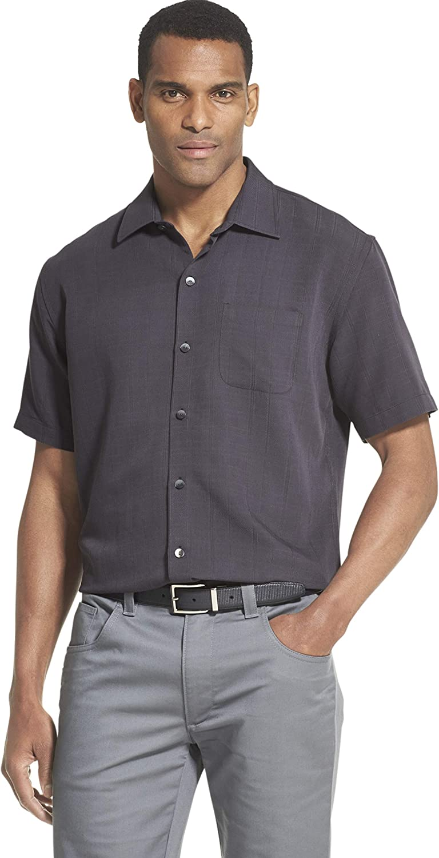 Van Heusen Men's Air Short Sleeve Button Down Poly Rayon Grid Shirt at  Men's Clothing store