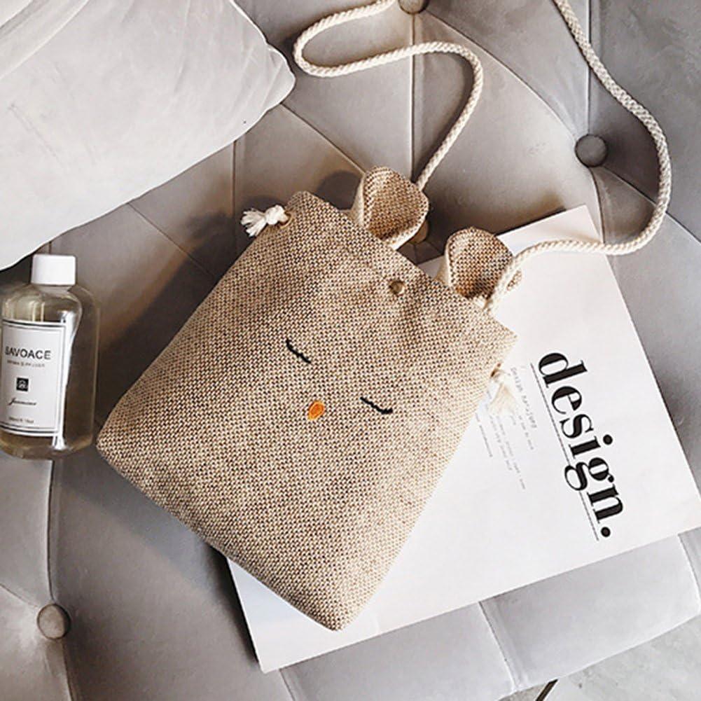 Yiwa Cute Rabbit Design Bag Woman Fashion Sweet Cotton Linen Single-shoulder Bag