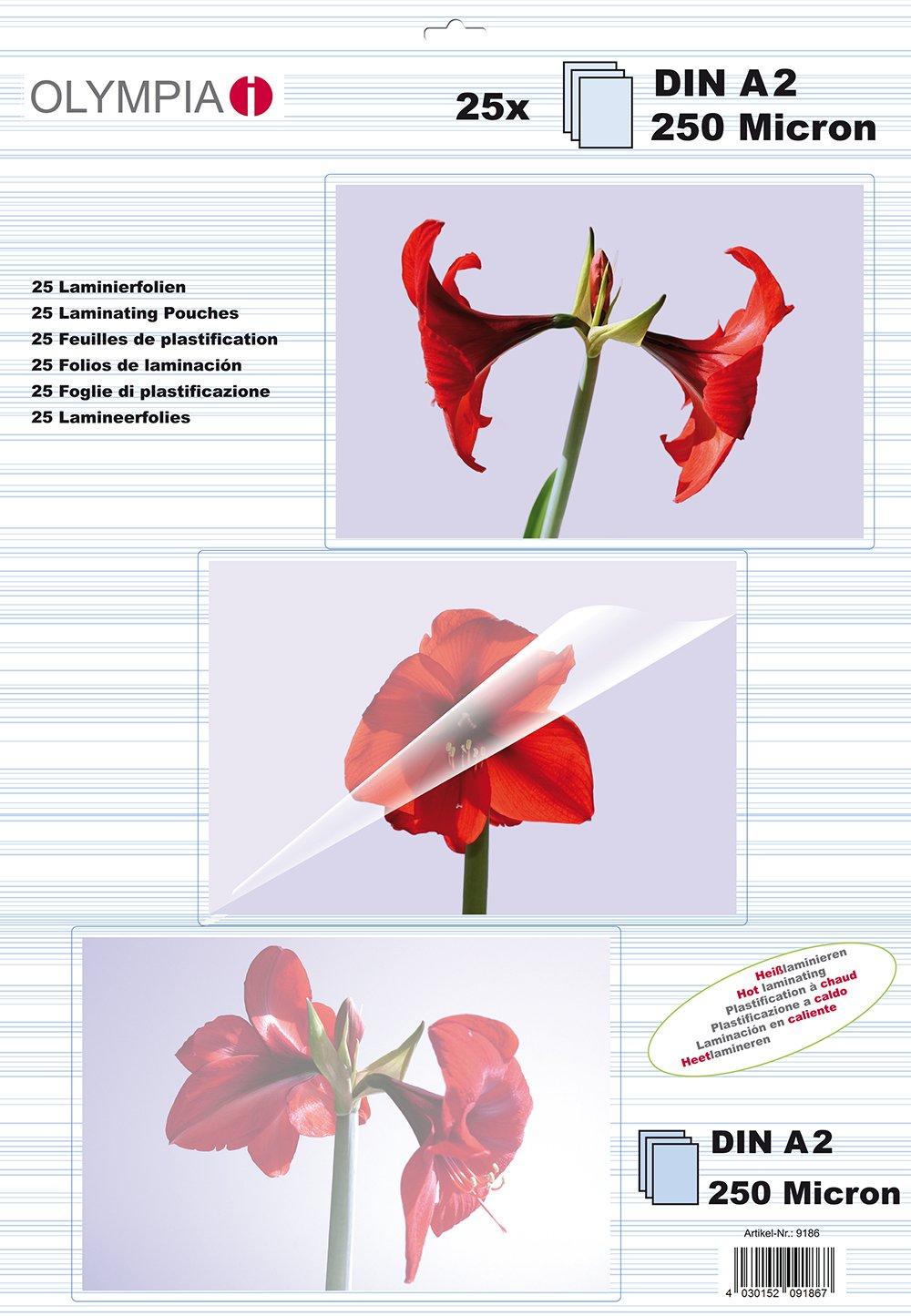 25 pochettes tansparentes 250 microns DIN A2 Olympia Pochettes de plastification /à chaud