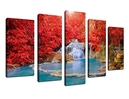Amazon.com: ARTEWOODS Wall Art Canvas Prints Red Tree Blue Waterfall ...