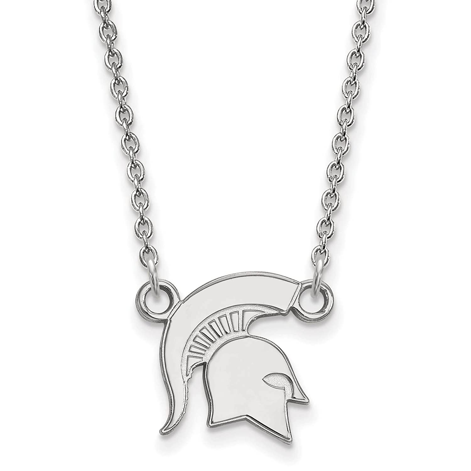 925 Sterling Silver Rhodium-plated Laser-cut Michigan State University Small Pendant w//Necklace 18
