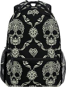 ZZKKO Sugar Skull Day of the Dead Boys Girls School Computer Backpacks Book Bag Travel Hiking Camping Daypack