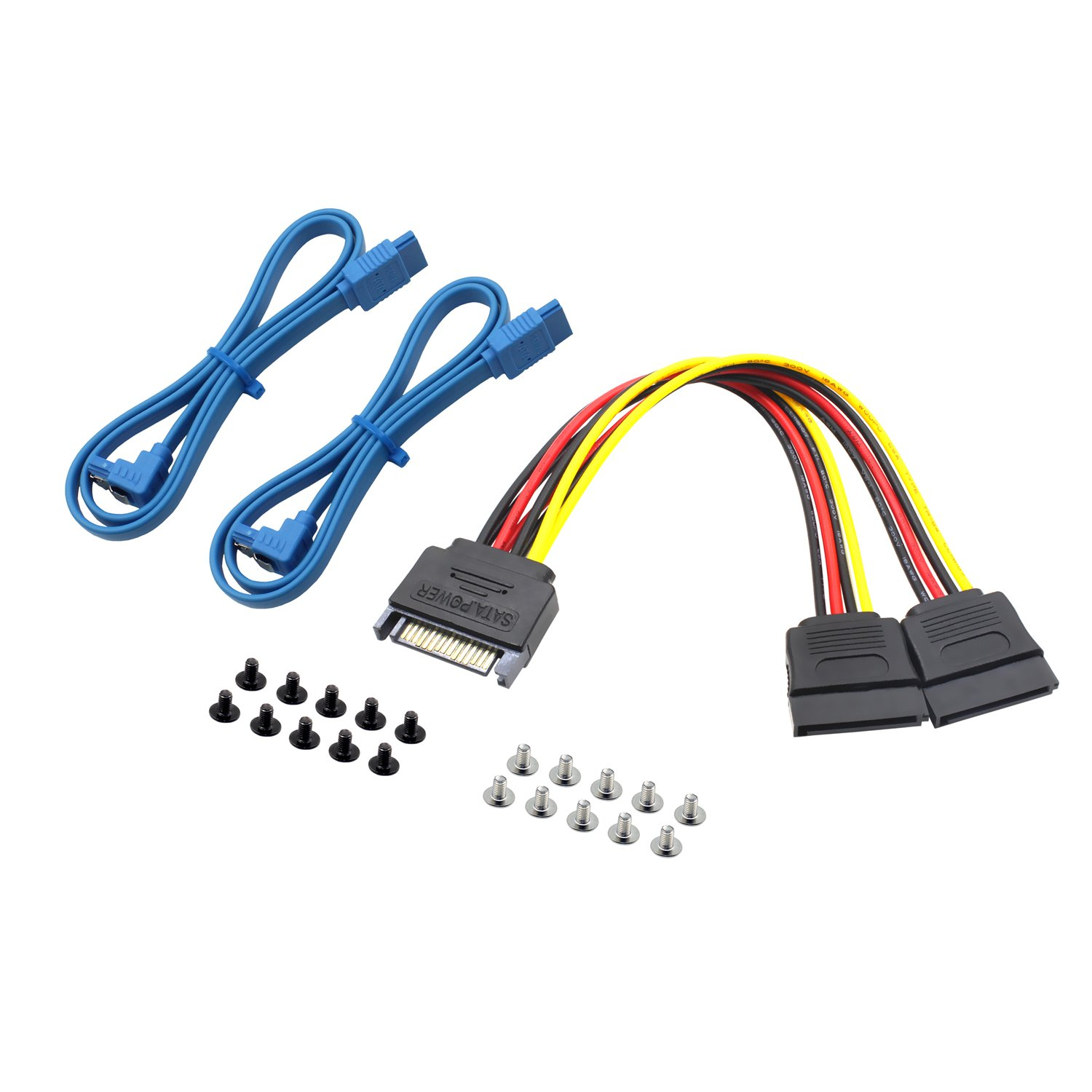 "Mcsher 20"" Inch 6Gbps SATA 3 Data Cable SATA to SATA Power Splitter Cord Mounting Screws Set/HDD SSD SATA Hard Drive Connection Kit"