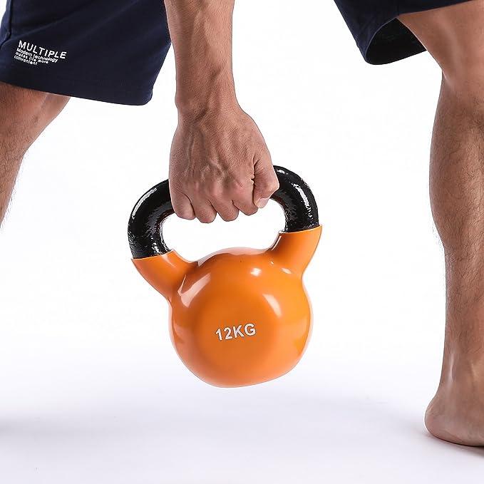 Fithalt Kettlebell Oscilante Pesas Rusas de Hierro Fundido con Revestimiento de Vinilo para el Entrenamiento de Fuerza Mancuerna para Musculación (Naranja ...
