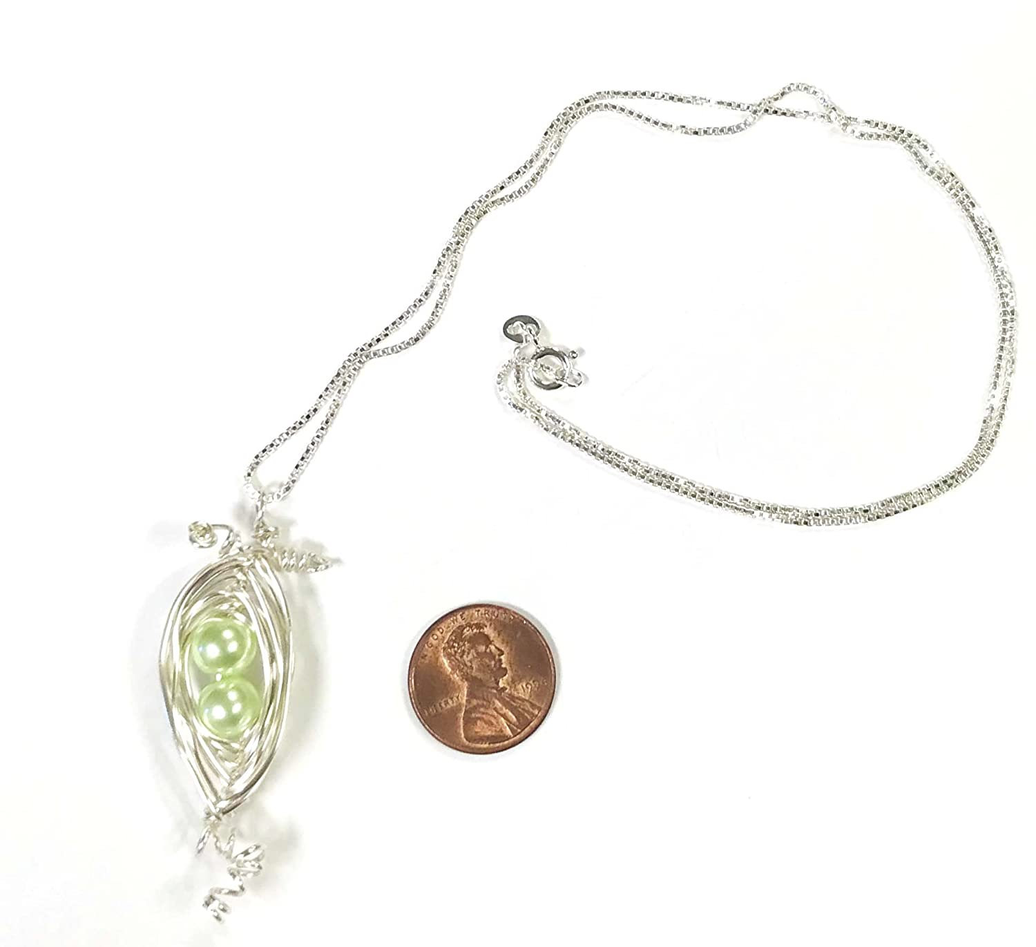 Two Peas in a Pod Hand Wire Wrapped Necklace with 2 mint glass pearl peas, comes on a 20 inch sterling silver box chain
