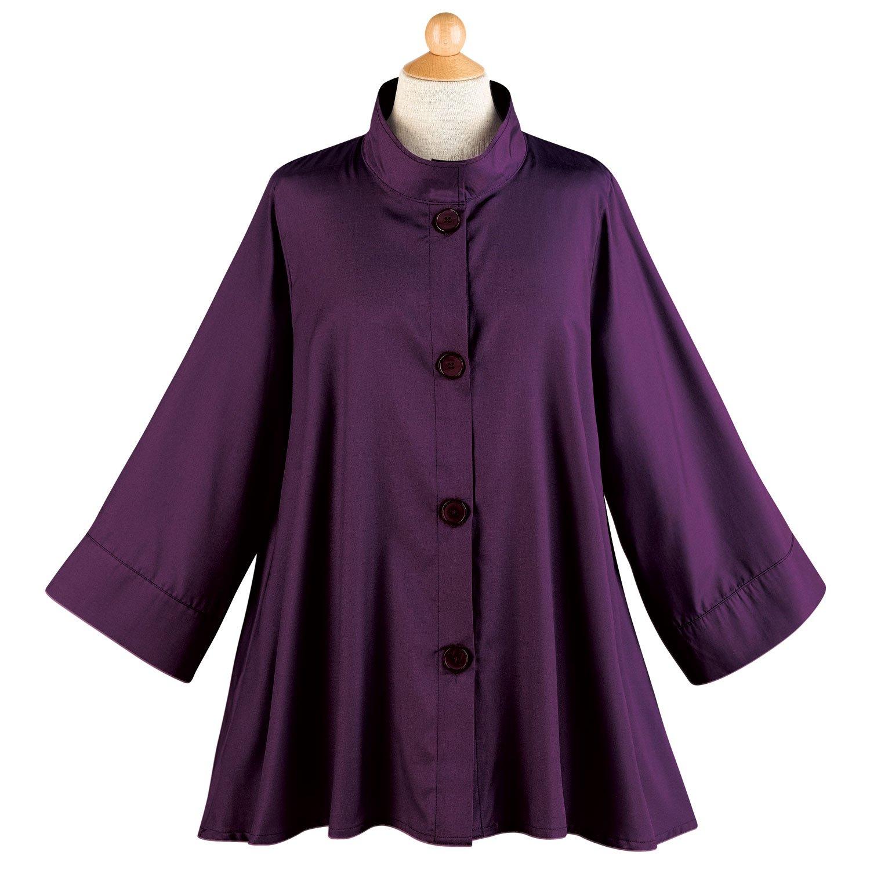 Breeke & Company Women's Iridescent Fashion Swing Jacket - Button Down - Eggplant - XXL
