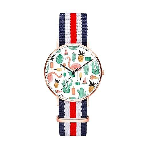 TobyFord - Reloj de pulsera para mujer, correa de Oxford multicolor, personalizable, de calidad, creativo, resistente al agua, para niñas - flamenco: ...