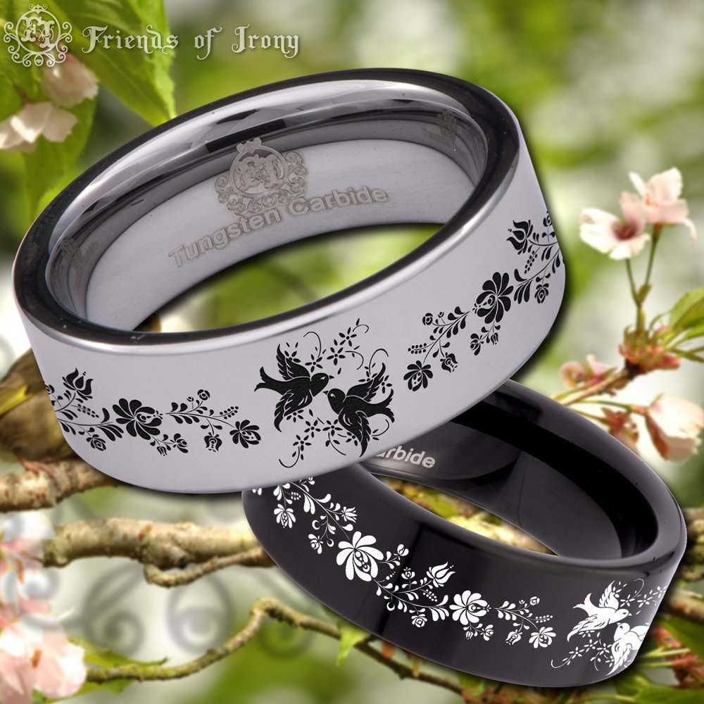 Friends of Irony Silver Tungsten Carbide Birds and Flowers Ring 8mm Wedding Band and Anniversary Ring for Men and Women Size 11.5