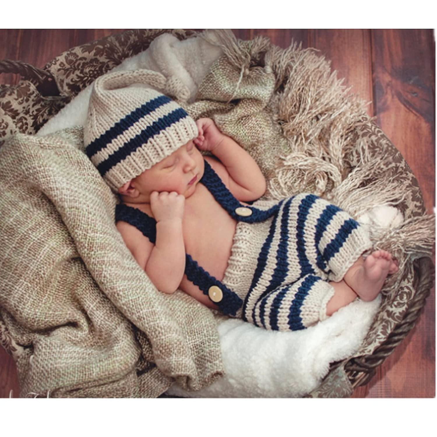 69bb97a65ed Fashion Newborn Boy Girl Baby Costume Outfits Photography Props Hat Pants