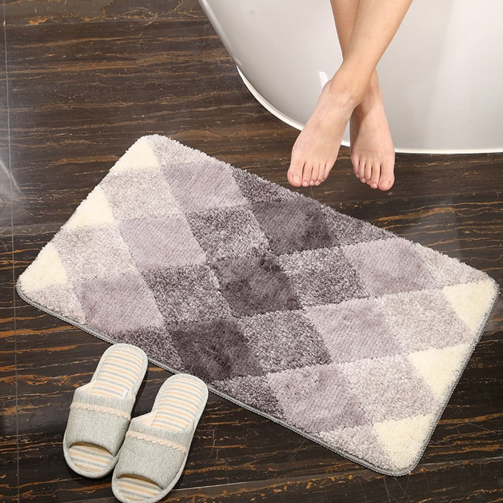 bd jfew Kitchen rug Carpets Carpets and bathroom mats anti-slip mat balcony machine washable, thickness 12mm, 5 colors, 3 sizes (Color Light Gray, Size: 6090 cm)