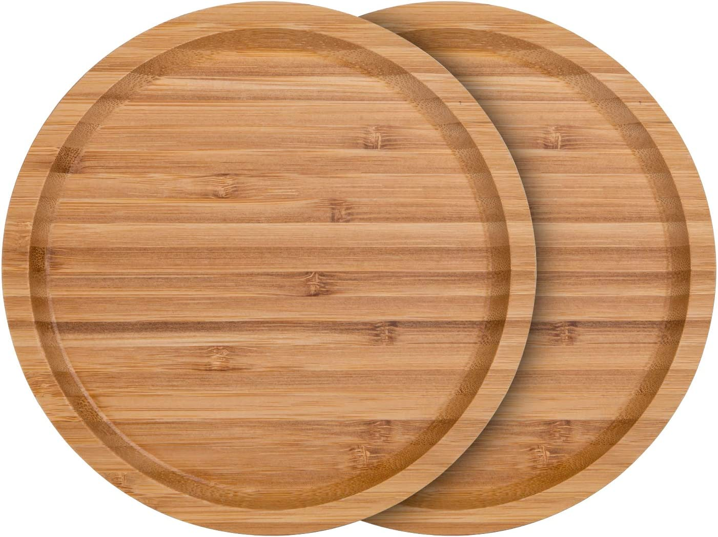Fasmov 2 Pack Bamboo Plant Saucer Round Plant Pot Tray, Suitable for 6-7 inch Plant Pots
