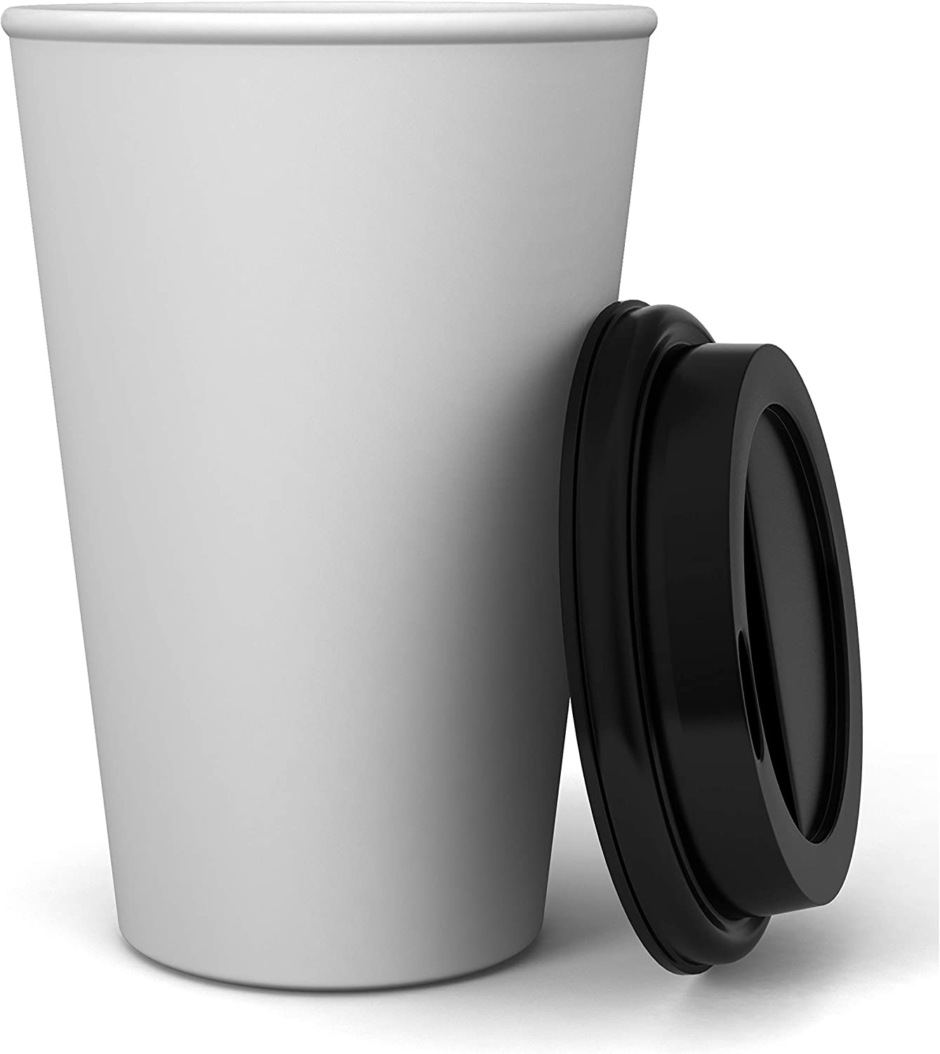 2 Pack of 125 ct - White Hot Drink Paper Cups 10 oz with Black Dome Lids - Disposable Coffee Cups, Recyclable, Compostable, Office, Breakrooms, Restaurants, Coffee Shops, Tea Shops, Latte, Chai