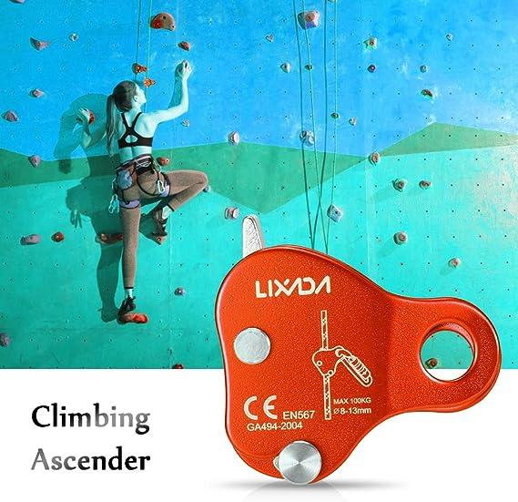 Lixada 8-13MM Climbing Rope Protective Ascender Dispositivo di Sosta Arrampicata 220LB Corda per Arrampicata Allaperto