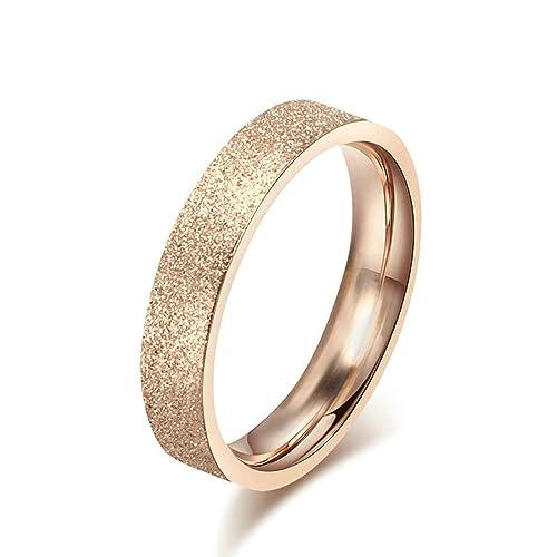 Onefeart Mujeres Acero inoxidable Anillos de bodas,18K Oro rosa Escarchado Anillo 4MM Compromiso tamaño 9,5 (15,76 mm)-22 (19,74 mm): Amazon.es: Joyería