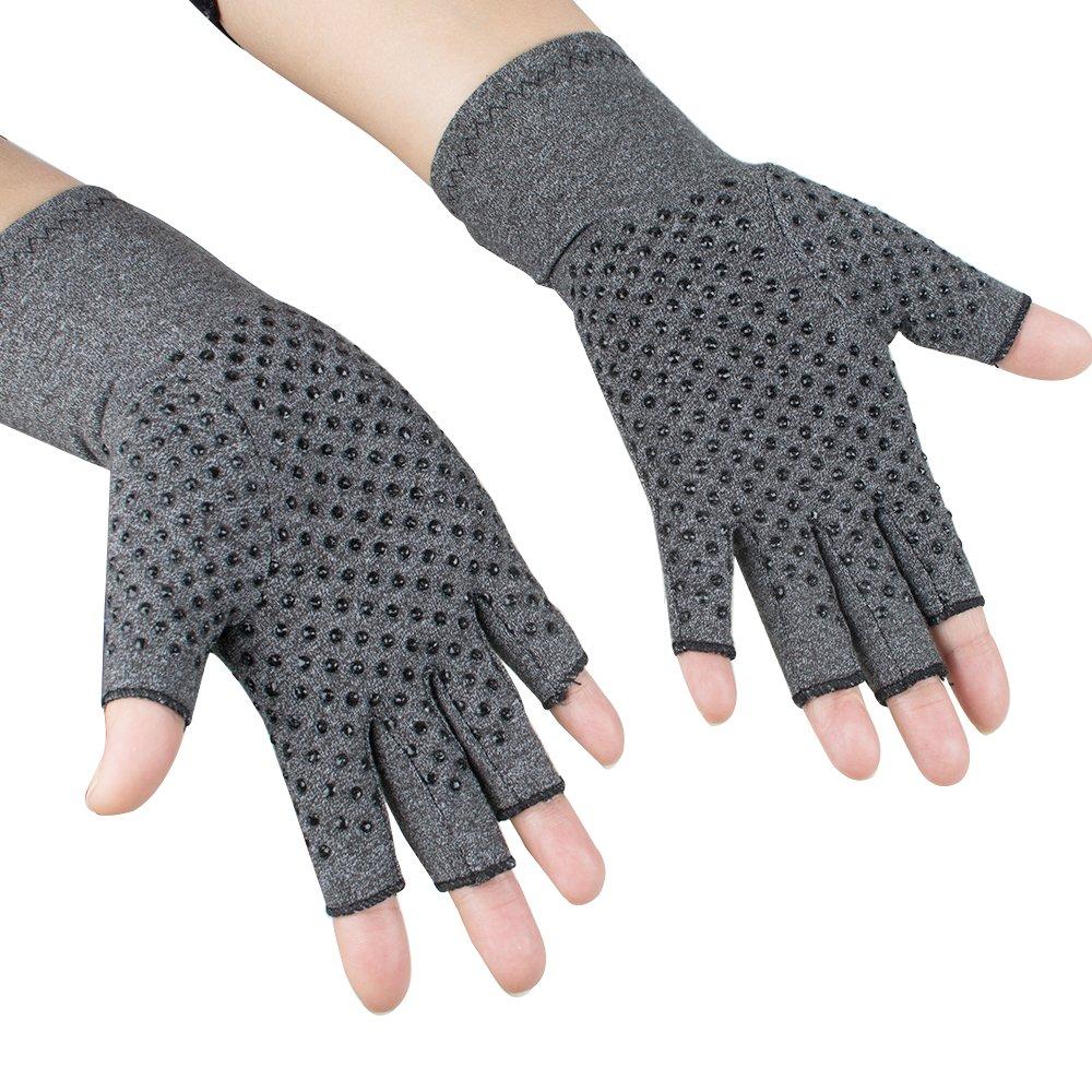 Pevor Arthritis Compression Gloves Relieve Pain Cotton & Spandex Arthritis Rehabilitation Bumps Training Nursing Grip Gloves S Gray