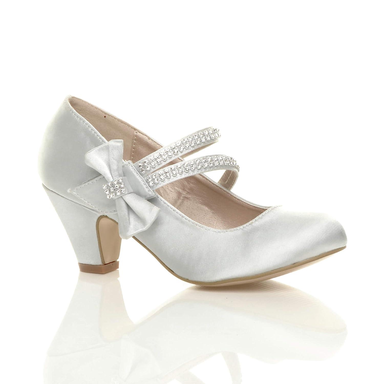 f374cb8215d Ajvani Girls Kids Childrens Low Heel Party Wedding Mary Jane Style Hook &  Loop Sandals School Shoes Size
