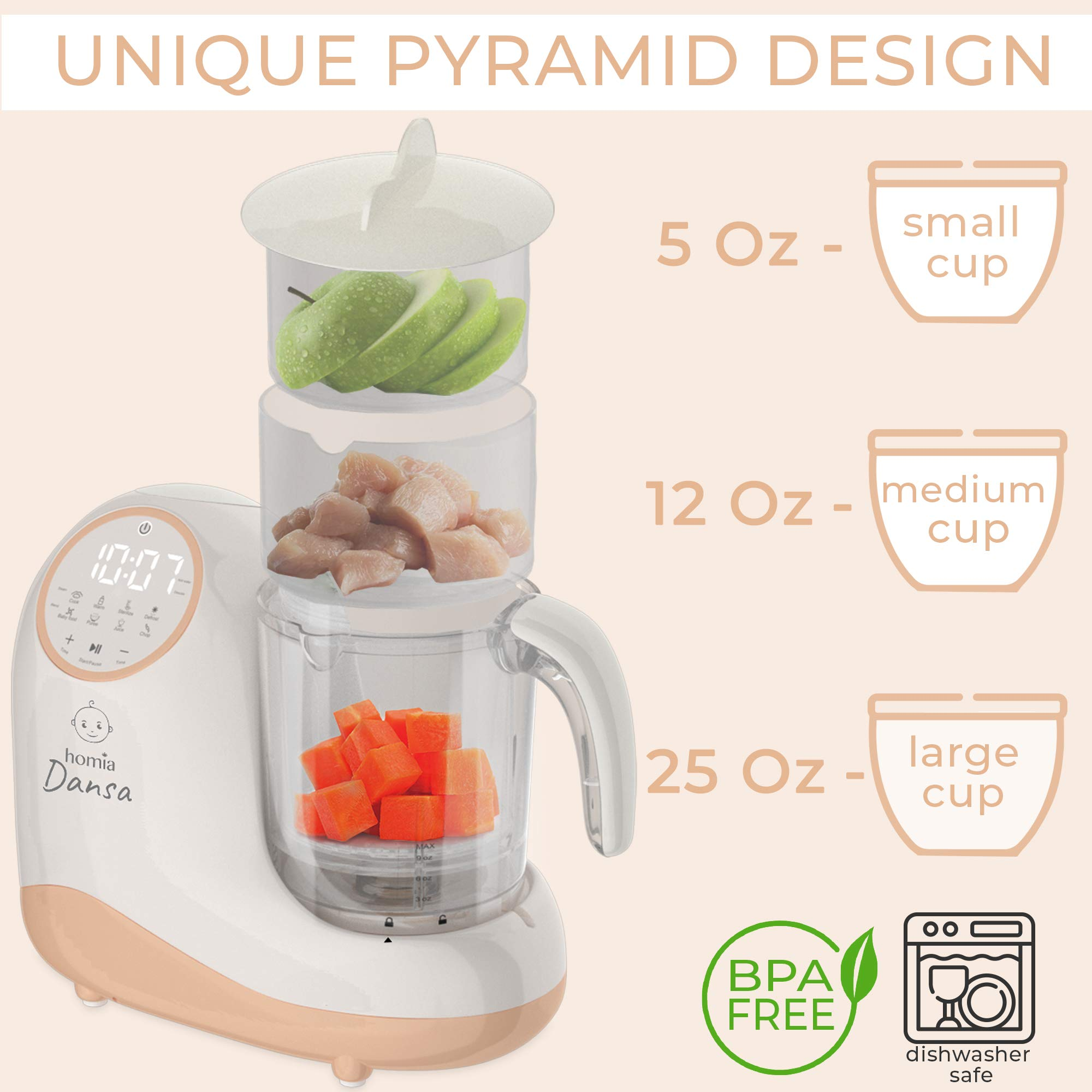 Baby Food Maker Chopper Grinder - Mills and Steamer 8 in 1 Processor for Toddlers - Steam, Blend, Chop, Disinfect, Clean, 20 Oz Tritan Stirring Cup, Touch Control Panel, Auto Shut-Off, 110V Only by homia (Image #4)
