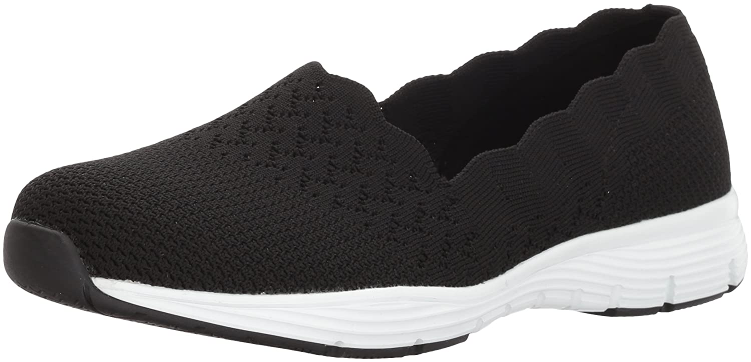 Skechers Women's Seager-Stat-Scalloped Collar, Engineered Skech-Knit Slip-On-Classic Fit Loafer B079JLX97L 7.5 W US|Black
