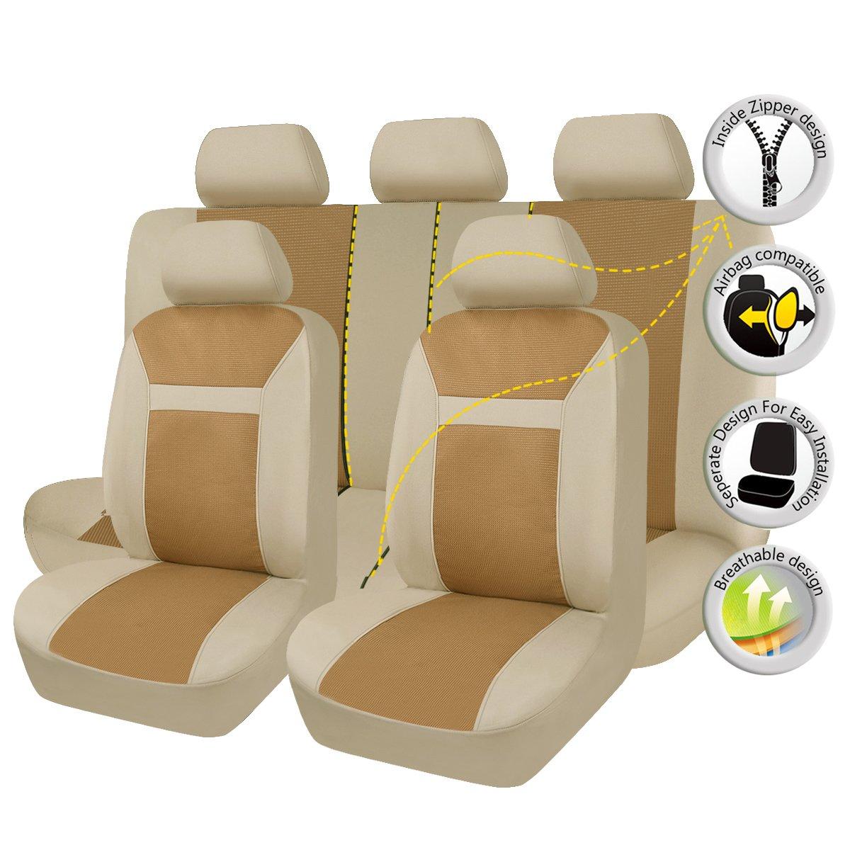 FlyingBanner Maschen und Jacquard Universal fü r Auto Sitzbezü ge Mit Seitenairbags (Beige) Ningbo Qiyang International Trade Co. Ltd FB-104015-0303
