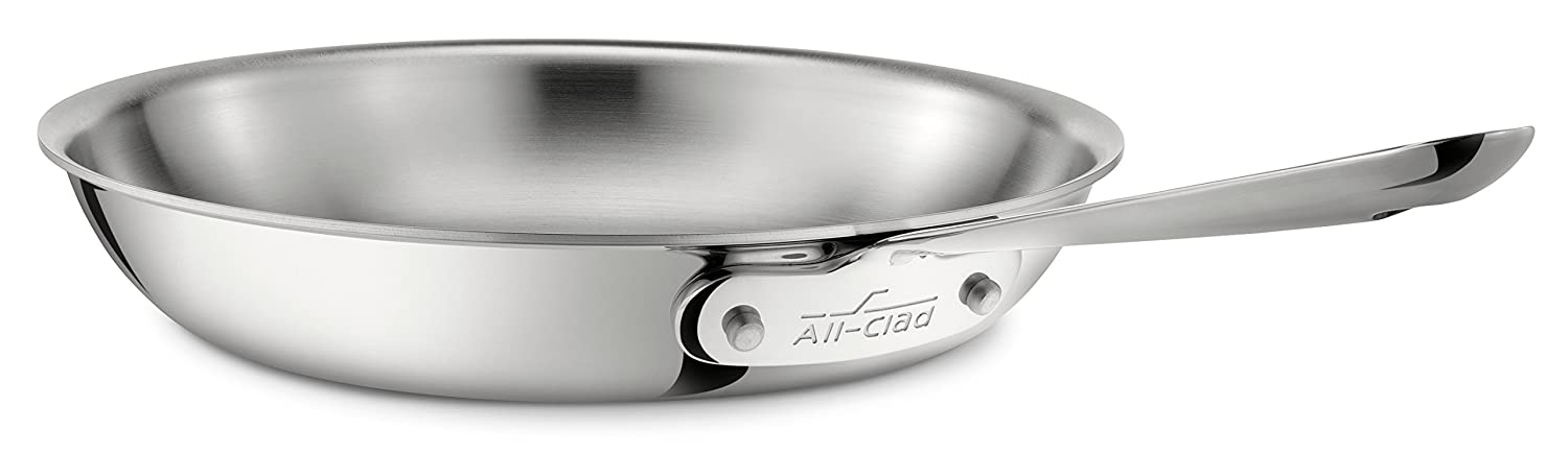 All-Clad 4108 Stainless Steel Tri-Ply Bonded Dishwasher Safe Fry Pan / Cookware, 8-Inch, Silver