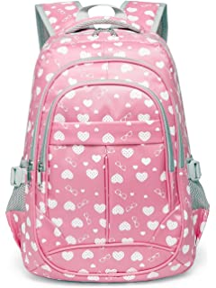 d5db6c59fedd Hearts Print School Backpacks For Girls Kids Elementary School Bags Bookbag