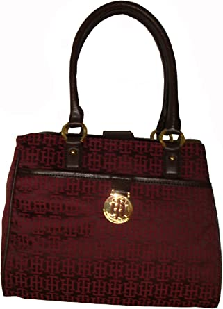 Tommy Hilfiger Womens Shopper Handbag Burgandy Logo//Brown