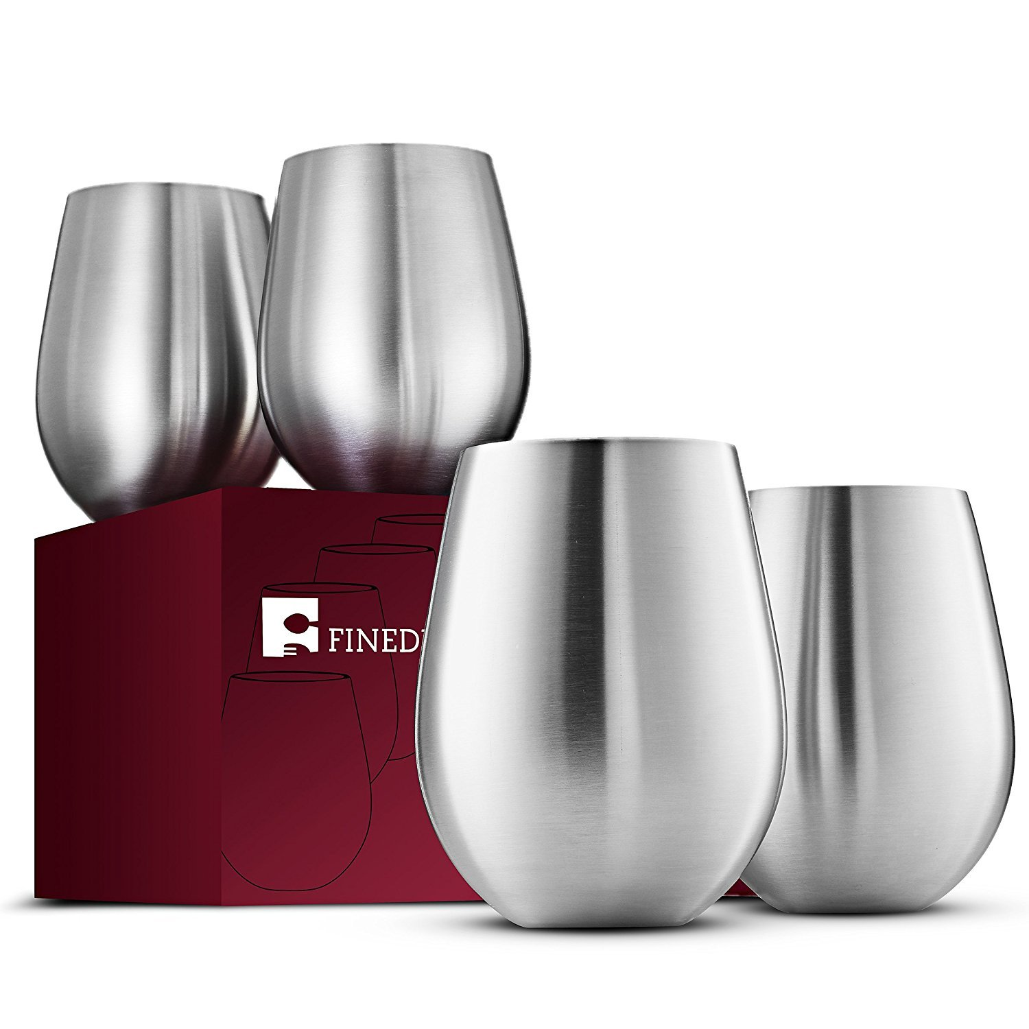 Stainless Steel Wine Glasses - Set of 4 Large & Elegant 18 Oz. Premium Grade 18/8 Stainless Steel Red & White Stemless Wine Glasses, Unbreakable, Portable Wine Glass, for Daily Outdoor Events, Picnics by FINEDINE