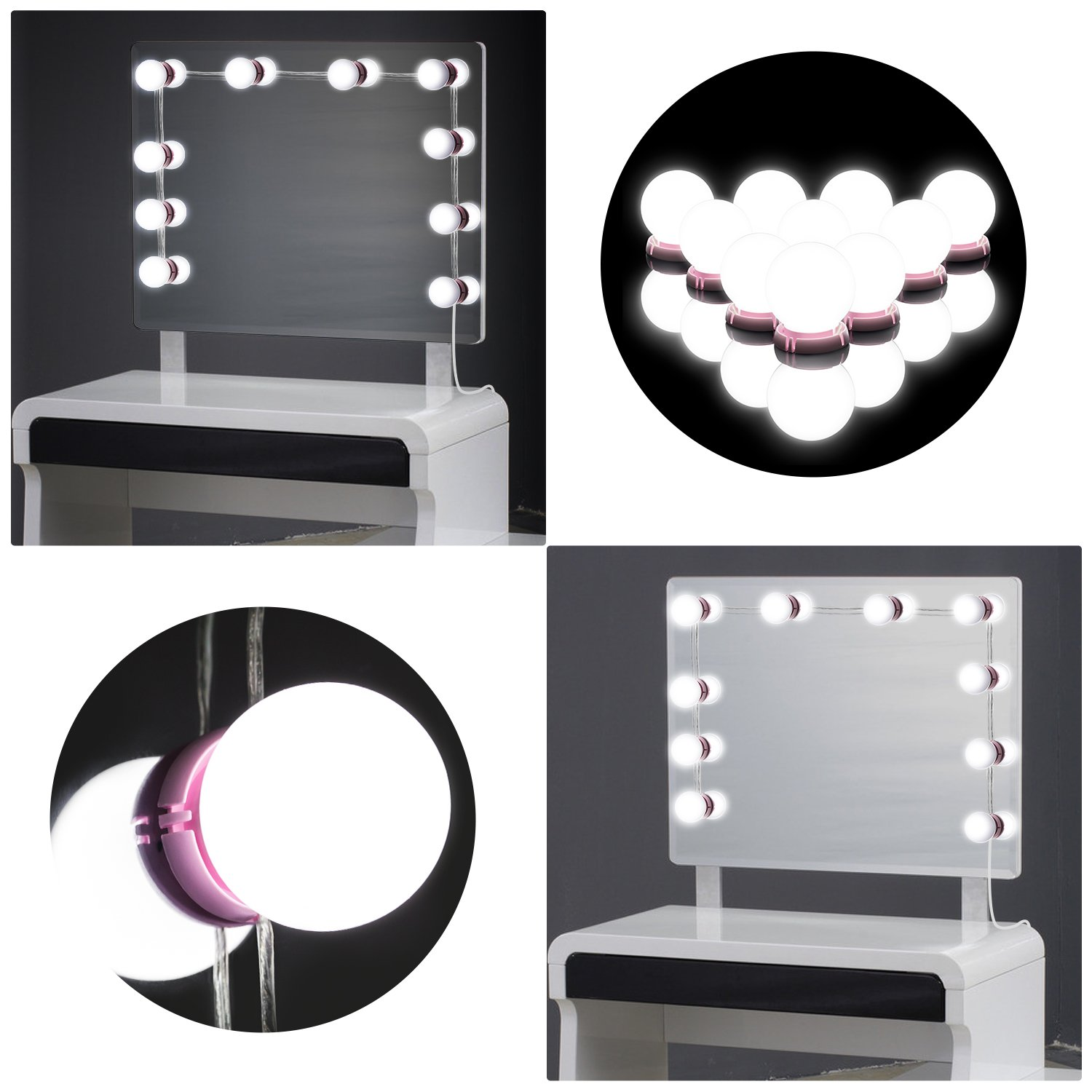 Led Vanity Lights, Hollywood Style LED Makeup Lights kit with Dimmable Light Bulbs, TIME Whale Song LED Lighting Fixture Strip for Makeup Dressing Table (Mirror Not Included) (White)