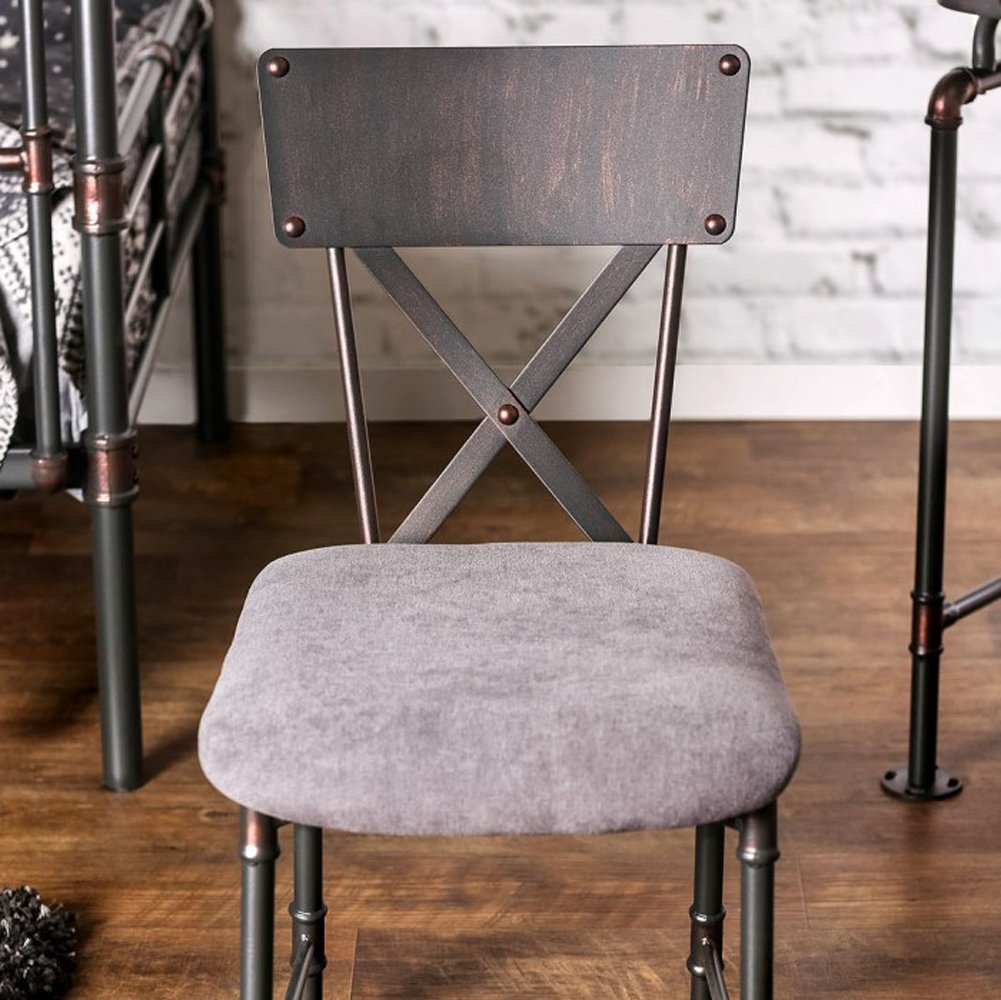 Olga Industrial Style Side Chair, Antique Black Finish
