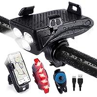 Luz Bicicleta Recargable Impermeable, Uplayteck 4 en 1 Luces Bicicleta Delantera y Trasera Recargable USB, Batería de…