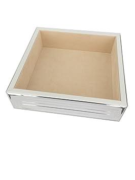 Bandeja vaciabolsillos Utensilios Cuencos estante 18 x 18 cm, bañado en plata inoxidable en Top
