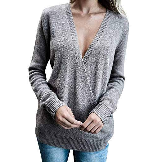 Sunhusing Fashion Womens Long Sleeve V-Neck Crossover Sweater Comfy Jumper Pullover Tops