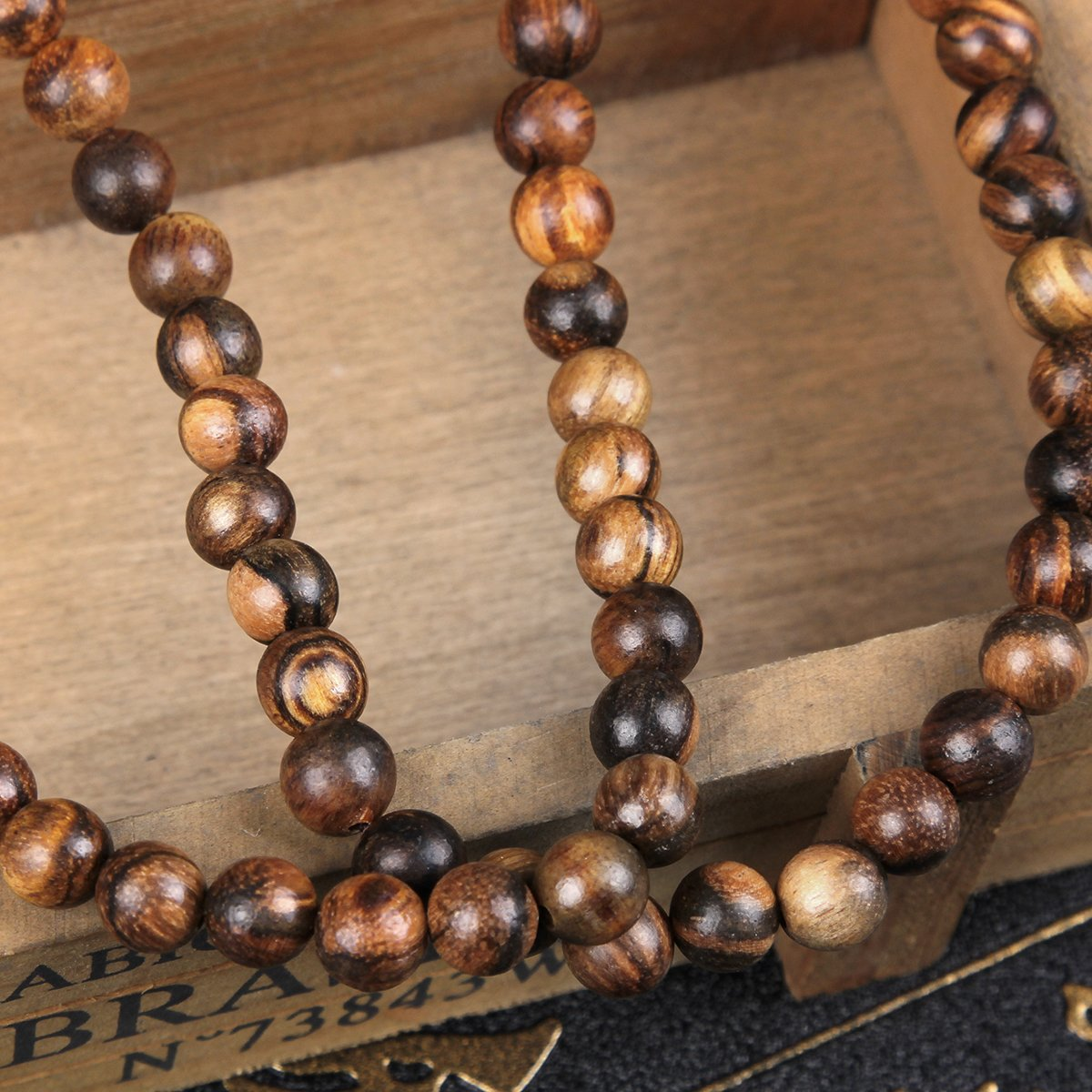 EVBEA 2PCS 6mm 8mm Buddha Bracelet Necklace Prayer Beads Rosary Wood Bracelets for Men (8mm bead) by EVBEA (Image #4)