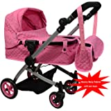 Modern Bassinet Doll Stroller -SUPERIOR QUALITY Quilted Fabric- NEW LUXURY COLLECTION - Adjustable Height - FREE Diaper Bag (Pink)