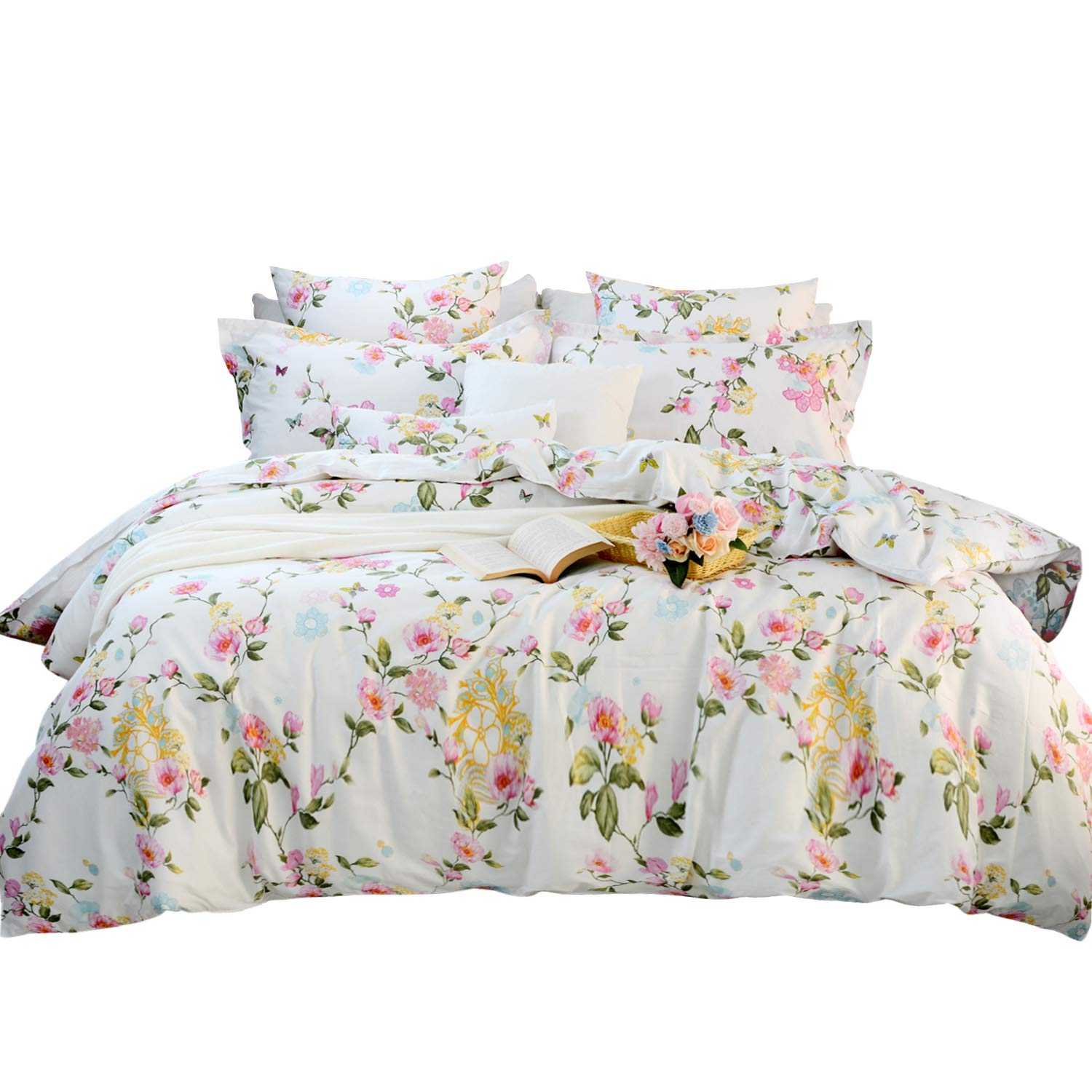 FADFAY Elegant and Shabby Floral Colorful Butterfly 100% Cotton Duvet Cover Set Hypoallergenic with Hidden Zipper Closure, Twin XL Size for Dorm Room 3-Pieces