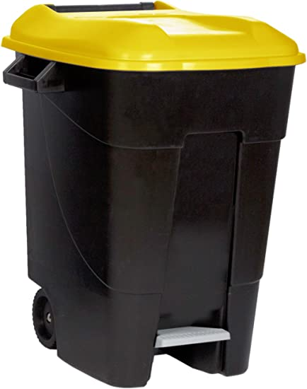 Tayg Tapa Amarilla Contenedor de residuos 50 litros con Pedal Base Gris