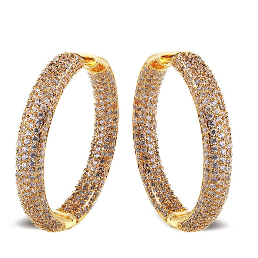 K-Elegant Deluxe Round Hoop Earrings 558 Pieces Cubic Zircon Cadmium Free Bridal Wedding Fashion