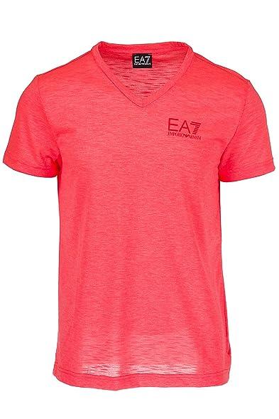 Emporio Armani EA7 Herren T-Shirt Kurzarm Kurzarmshirt V Ausschnitt  beachwear Orangene EU S (