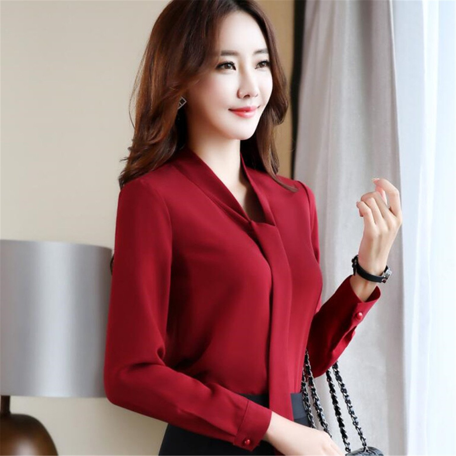 d0bd2c83155d Aworth Workout-and-training-shirts Fashion Elegant Women Chiffon Blouses  Office Lady Long Sleeve Shirt Formal Plus Size Tops Red L at Amazon Women's  ...