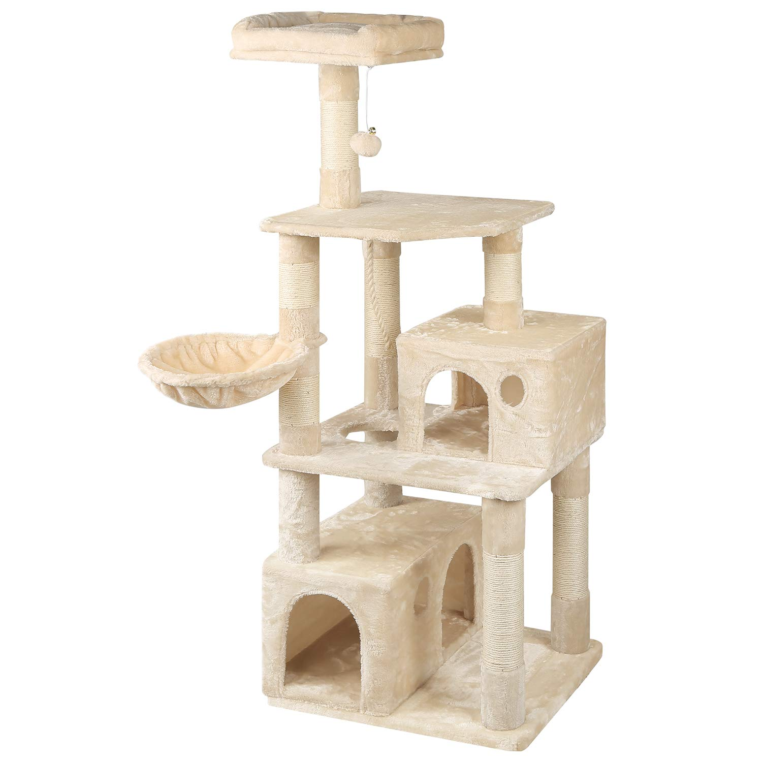 WLIVE 59'' Large Cat Tree Condo with Sisal Scratching Posts, 2 Plush Condos and Basket Lounger, Cat Tower Furniture WF062A
