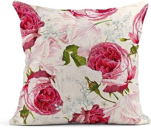 Kinhevao Cojín Rosa Floral Jardín Rosas y Flores de tulipán en Romántico para cosméticos Perfume Mejor cojín de Lino Blanco Almohada Decorativa para el hogar: Amazon.es: Jardín