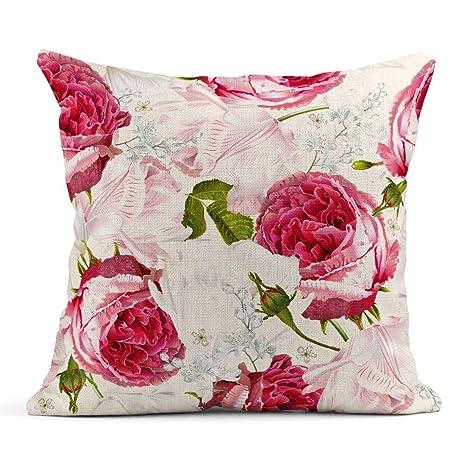 Kinhevao Cojín Rosa Floral Jardín Rosas y Flores de tulipán ...
