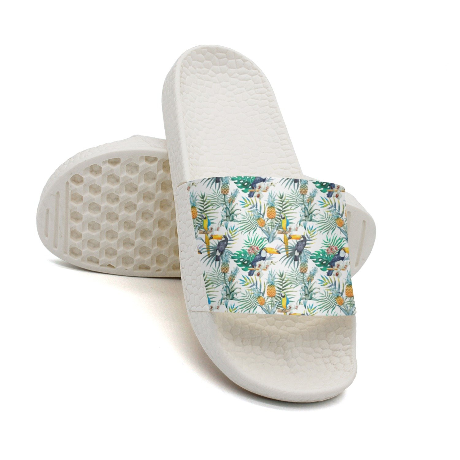 Ether Dobbin Unisex Tropical Pineapples And Birds Anti-Slip Slippers Athletic Slide Sandals