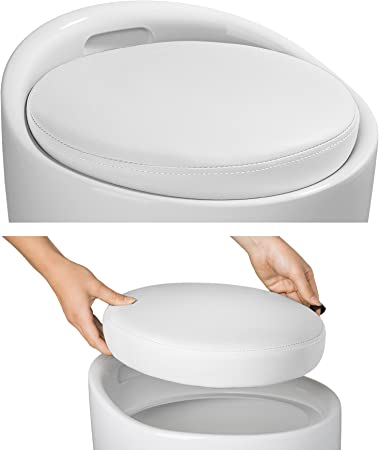 TecTake Sitzhocker Badhocker rund | ABS Kunststoff | mit Stauraum und Sitzkissen Diverse Farben (Weiß Weiß | Nr. 402077 3)