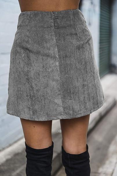 Falda De Mujer Moda Botones De Pana Línea A Faldas Cálidas Grey L ...