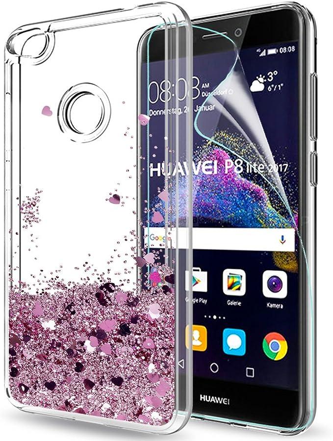 LeYi Coque Huawei P8 Lite 2017 avec Film de Protection écran, Fille Personnalisé Liquide Paillette Transparente 3D Silicone Gel Antichoc Kawaii Étui ...
