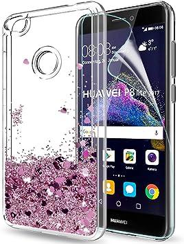 LeYi Funda Huawei P8 Lite 2017 Silicona Purpurina Carcasa con HD ...