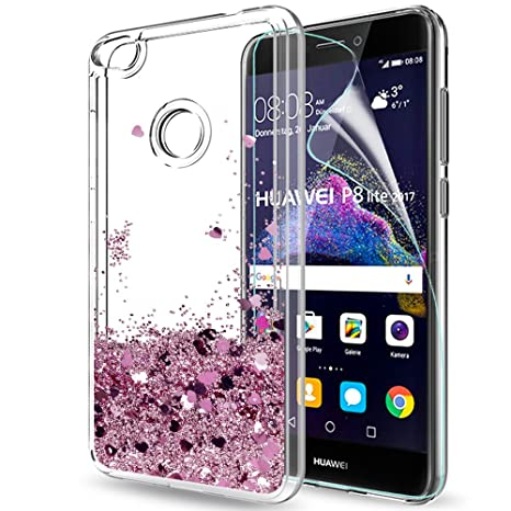 LeYi Case for Huawei P8 Lite 2017 with Screen Protector, Girl Women 3D  Glitter Liquid Cute Personalised Clear Transparent Silicone Gel Shockproof